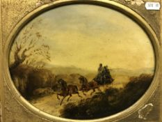 """19TH CENTURY ENGLISH SCHOOL IN THE MANNER OF HENRY ALKEN OR JAMES POLLARD """"Carriage with three"""