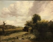 """FREDERICK RICHARD LEE RA (1798-1879) """"Travellers in wagon on a roadway, thatched cottage to the"""