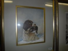 """19TH CENTURY ENGLISH SCHOOL """"Pointer with grouse quarry in snow"""", watercolour heightened with white,"""