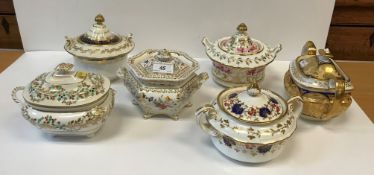 A collection of seven 19th Century sucriers and covers including a circa 1835 Ridgway example,
