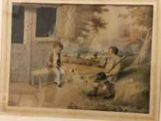 """19TH CENTURY ENGLISH SCHOOL """"Figures seated by a doorway with landscape unfolding in background"""","""