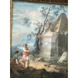 """SCHOOL OF NICOLAS POUSSIN """"Figures resting by ruins, with extensive landscapes unfolding in"""