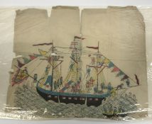 """19TH CENTURY JAPANESE SCHOOL """"Figures in a large boat"""", colour woodblock print, approx. 19 cm x 33.5"""