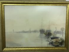"""CHESTER WILLIAMS """"Moored boats at sunset"""" signed and dated 1963 lower right, bears inscription """""""
