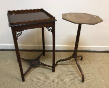 A 19th Century mahogany octagonal occasional table, the rosewood banded satinwood and ebony strung