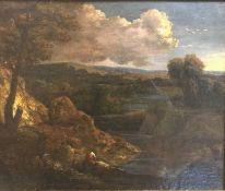 "SCHOOL OF CORNELIS HUYSMANS (1648-1727) ""Landscape and river"" a river landscape with two figures"