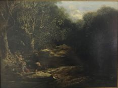 """CHARLES JOHNSON """"Landscape with boys fishing"""", a river landscape, oil on canvas, monogrammed lower"""