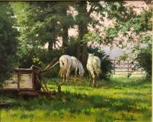 """ROSEMARY SARAH WELCH """"Mostly Retired"""", oil on canvas, signed lower right, size including frame"""