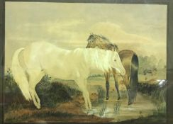 """ENGLISH SCHOOL """"Study of horses in pond in landscape"""", watercolour, unsigned, image size 21 cm x"""