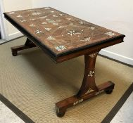 An early 19th Century Maltese olive wood centre table, the ivory and ebony inlaid top with medallion