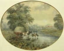 """19TH CENTURY ENGLISH SCHOOL """"Woman and child faggot gathering with cattle in background"""","""