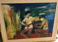 "A HARDI (aka R SOEHARDI - b. 1951 - INDONESIA) ""Shoe Shine"", a study of two figures in street scene,"