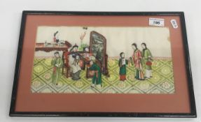 """19TH CENTURY CHINESE SCHOOL """"Figures in an interior"""", gouache on rice paper"""