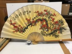 A collection of six modern Chinese printed fabric and bamboo fans of large proportions each