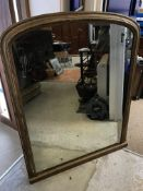 A Victorian gilt framed overmantel mirror with plain domed top, 96 cm wide x 119 cm high