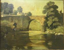 "NORA LORIMER ROME (1904-1997) (of Bangor on Dee) ""River landscape with bridge"", oil on canvas,"