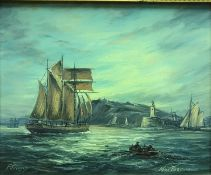 """MAX PARSONS """"Fecamp"""", study of a fishing boat with other sailing vessels by harbour mouth, oil on"""
