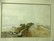 """CHESTER WILLIAMS """"Abstract landscape"""" watercolour signed bottom left image size 42 cm x 63 cm"""