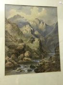 """19TH CENTURY BRITISH SCHOOL """"Mountainous river landscape with two figures in tam o'shanters in"""