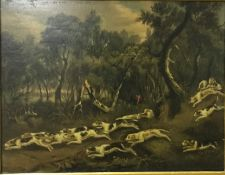 """SCHOOL OF CHARLES LORAINE SMITH """"Fox hounds in a wood with """"B"""" stencils on backs and crossing a"""