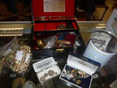 A box containing jewellery box of various costume jewellery, necklaces, brooches, watches, etc and a