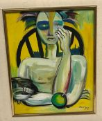 """MA CHOI """"Figure seated in a chair with apple on table"""", oil on canvas, signed and dated 1990 lower"""