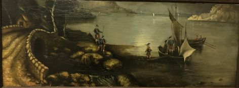 """19TH CENTURY ENGLISH SCHOOL """"Scottish lake scene with bridge in foreground and various figures in"""