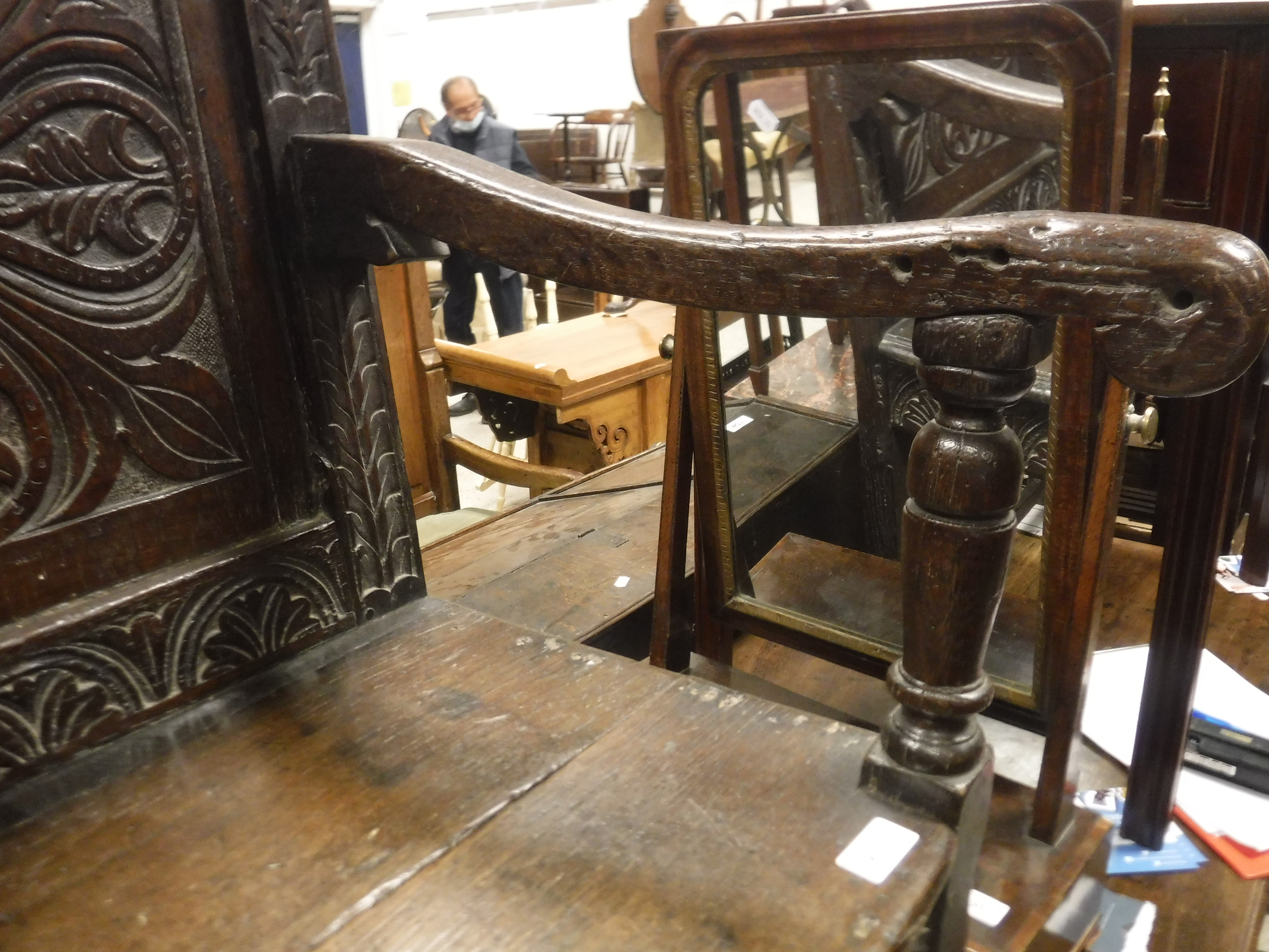 A 17th Century oak Wainscott type chair, the lunette carved top rail over a foliate medallion - Image 6 of 24