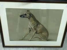 """DAVINA OWEN """"Marnie"""" study of a dog, pastel signed and dated 2002 lower right image size 43.5 cm x"""