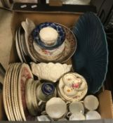 """Two boxes of assorted decorative china wares to include Royal Crown """"Derby Posies"""" tea wares,"""