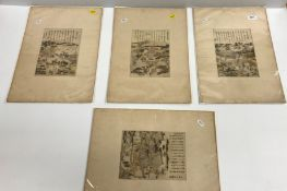 """19TH CENTURY CHINESE SCHOOL """"Figures and buildings by lakeside"""", with script, a set of four colour"""