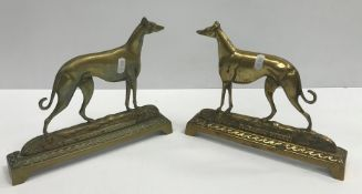 """Two cast brass fire ornaments """"Farndon Ferry"""" and """"Col Norths Fullerton"""" (Greyhounds), a pair of day"""