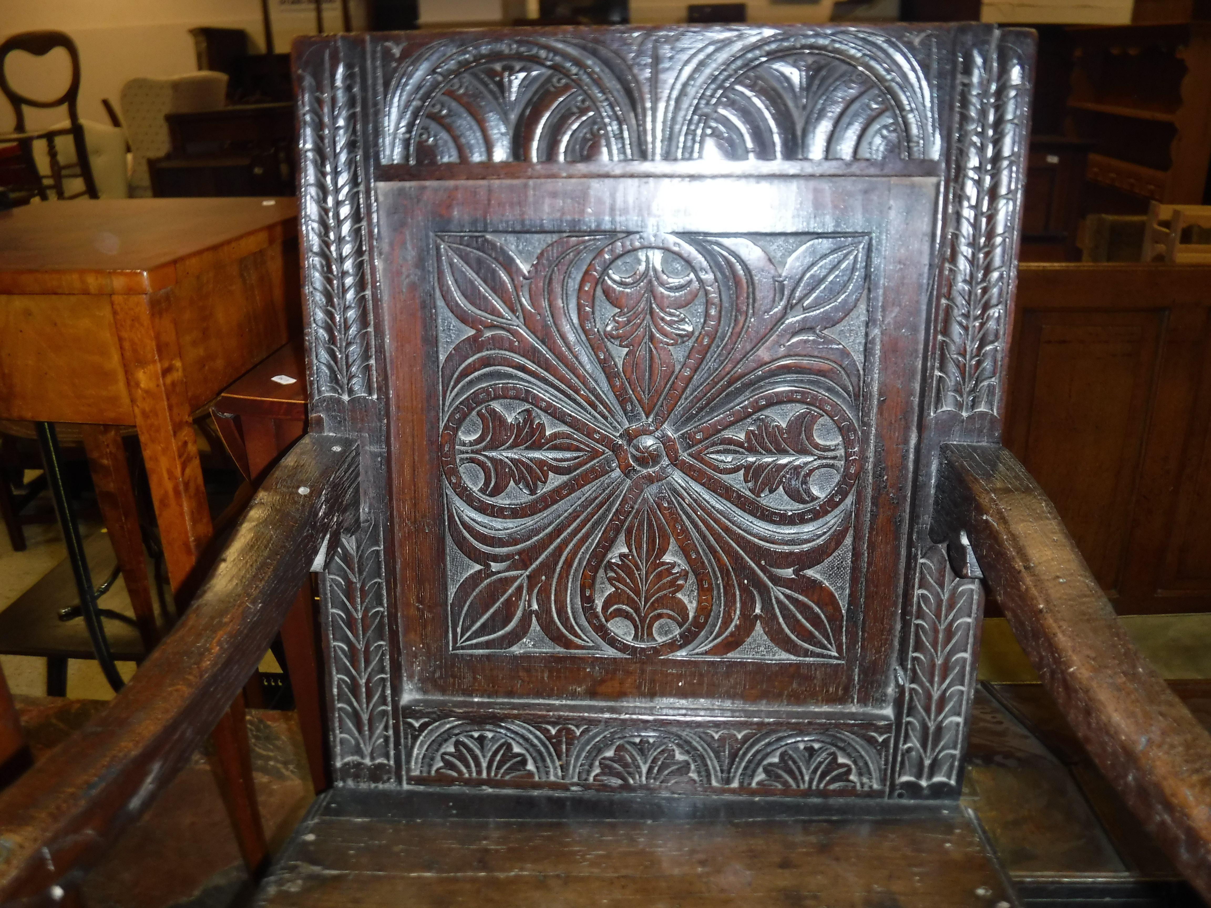 A 17th Century oak Wainscott type chair, the lunette carved top rail over a foliate medallion - Image 3 of 24