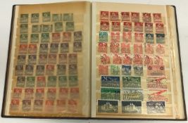 26 various albums of British and World stamps, together with three shoe boxes of various un-