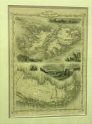 """AFTER J RAPKIN """"Falkland Islands and Patagonia"""" a map, visible image 35.5 cm x 25.5 cm, together"""