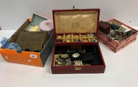 Two boxes of various costume jewellery including various necklaces, hair net jar, brooches, etc,