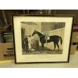"""AFTER HARRY HALL """"Voltigeur"""", study of racehorse and jockey in stable, engraved by Charles Hunt,"""
