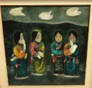 """MA CHOI """"Four women in traditional dress"""", oil on canvas, signed and dated 1990 lower right,"""
