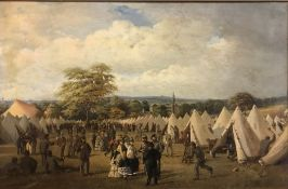 """F H HOWARD HARRIS """"Military encampment with tents and figures"""" (possibly US Civil War Confederate"""