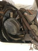 Three boxes of assorted metal wares to include copper kettles, brass candlesticks, a roasting jack