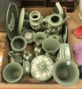 A collection of Wedgwood green Jasper ware, various, comprising plates, dishes, vase, salt and