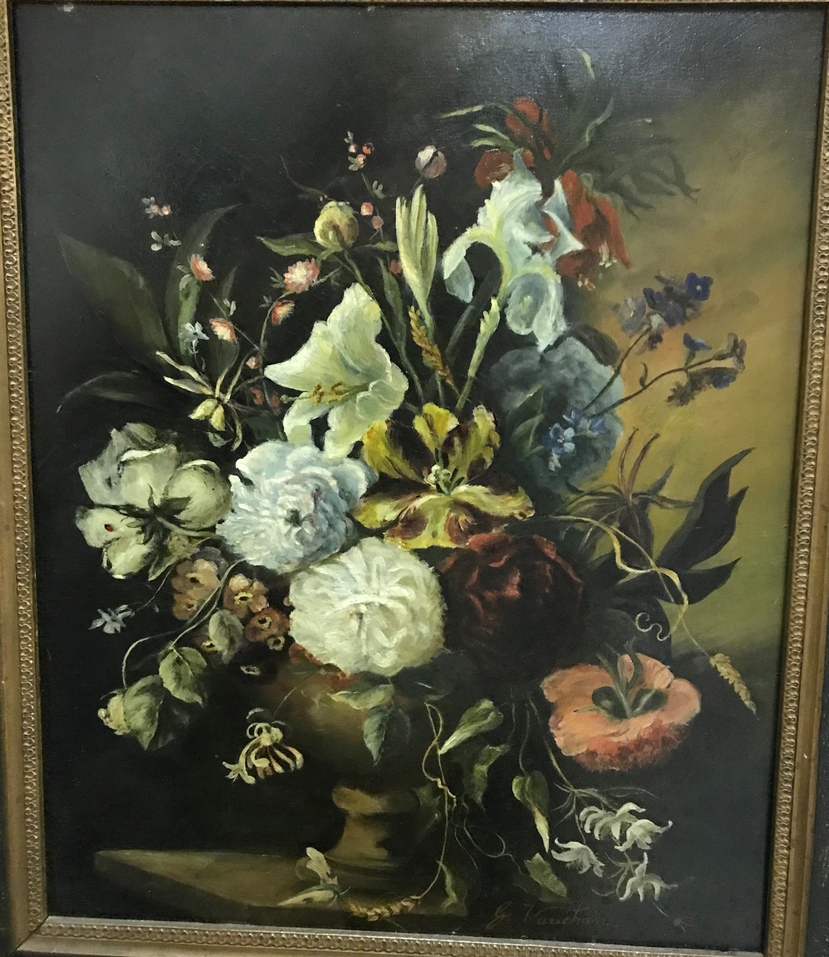 """G VAUGHAN """"Still life study of flowers in vase on a stone ledge"""" signed lower right, oil on panel"""