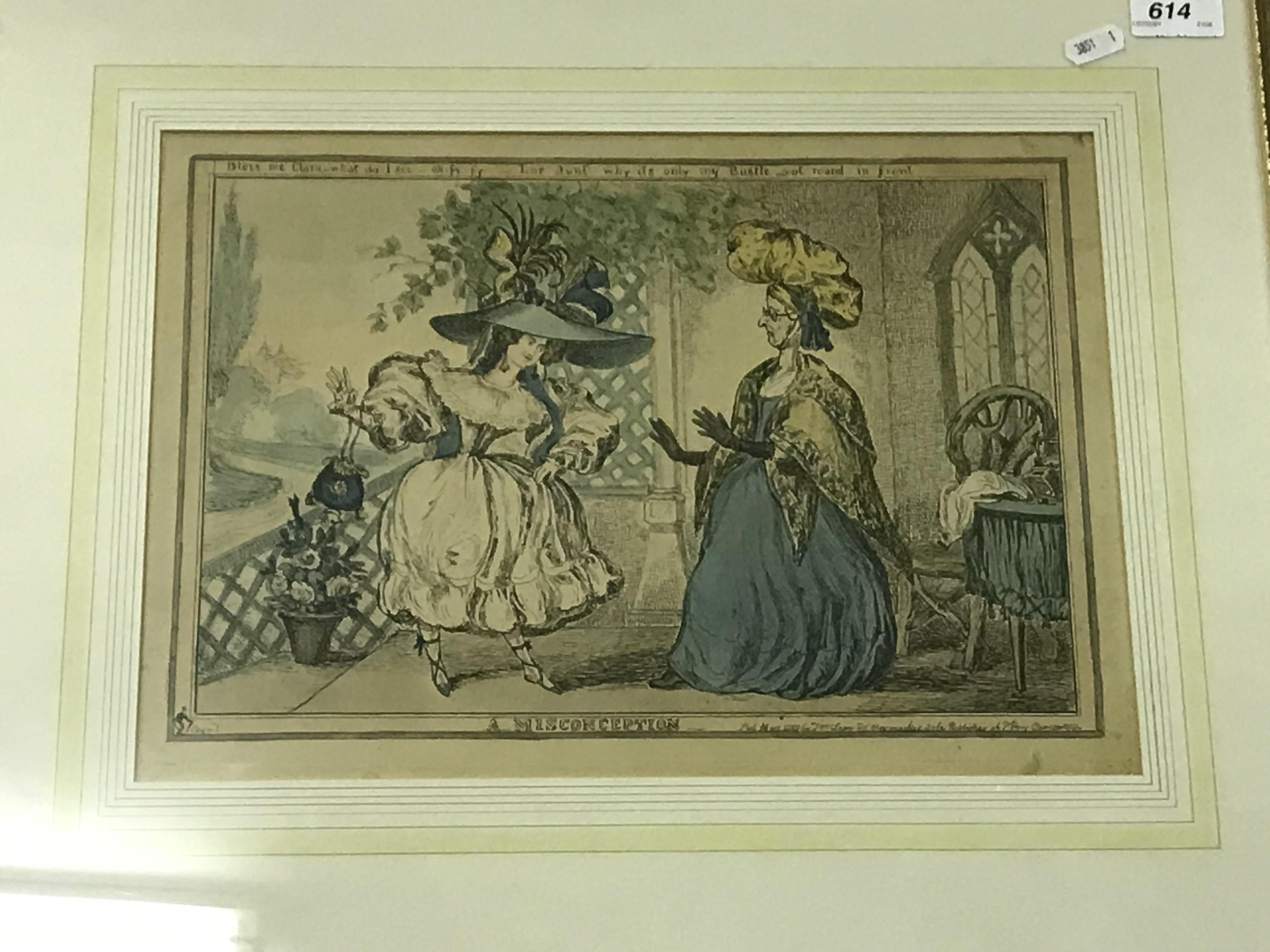 """PAUL PRY """"A Misconception"""" colour etching pub. 1829 by T. M. McLean, plate size 26.5 cm x 38 cm"""