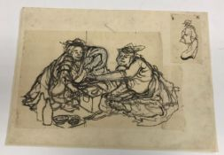 A collection of Japanese prints to include a Hokusai School study of two figures taking tea, image
