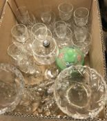 A collection of various glassware to include a pair of table lustres, ship's decanter, three further