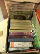 """Four boxes of childrens' books and books on the subject of games, etc to include A A MILNE """"More"""