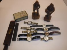 A collection of nine various watches including copies of Patek Philippe (x 2), Rolex Oyster