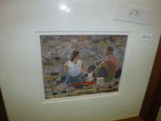 "HUGH KIRKWOOD ""Picnic on the beach, Isle of Skye"", oil on paper, unsigned, 12 cm x 15 cm,"