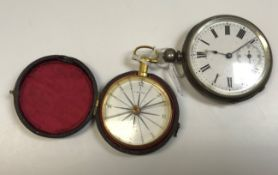 A 19th Century yellow metal cased pocket compass by J Davis of Derby, housed in a burgundy leather