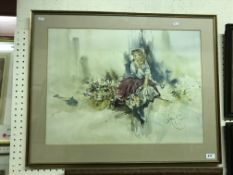 """A collection of prints to include AFTER GORDON KING """"Study of girl with flowers"""", image size 50 cm x"""